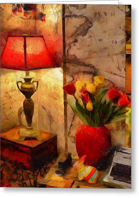 Flower Still Life Prints Greeting Cards - The Corner Light  Greeting Card by L Wright