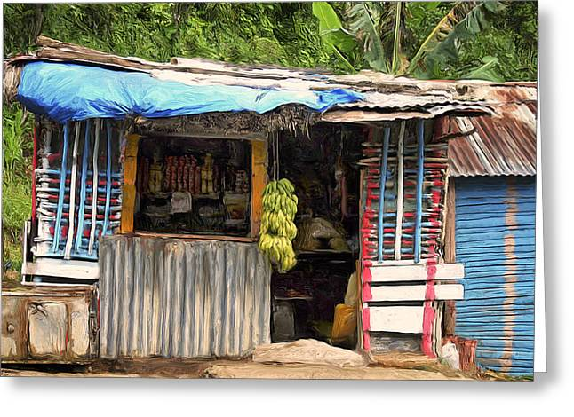 Caribbean Corner Greeting Cards - The Corner Market Greeting Card by Dominic Piperata