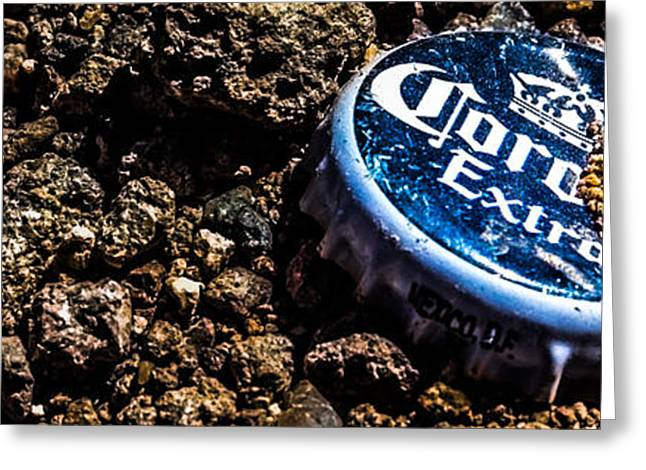 Bottlecaps Photographs Greeting Cards - The Corona Cap Greeting Card by Sinful Las Vegas Photography