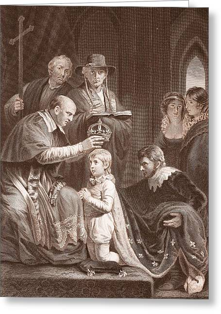 Knelt Drawings Greeting Cards - The Coronation Of Henry Vi, Engraved Greeting Card by John Opie