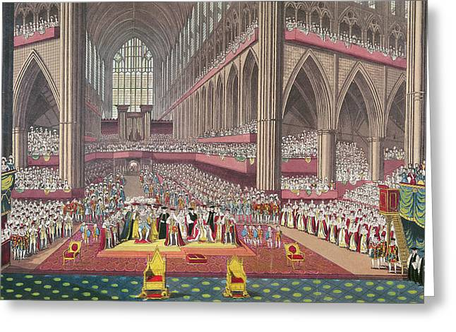 Royalty Greeting Cards - The Coronation Of King William Iv And Queen Adelaide, 1831 Colour Litho Greeting Card by English School