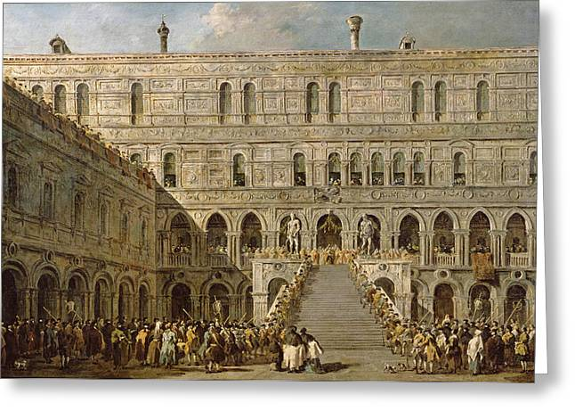 Crown Greeting Cards - The Coronation Of The Doge Of Venice On The Scala Dei Giganti Of The Palazzo Ducale, 1766-70 Oil Greeting Card by Francesco Guardi