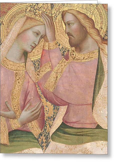 Crowned Head Greeting Cards - The Coronation of the Virgin Greeting Card by Agnolo Gaddi