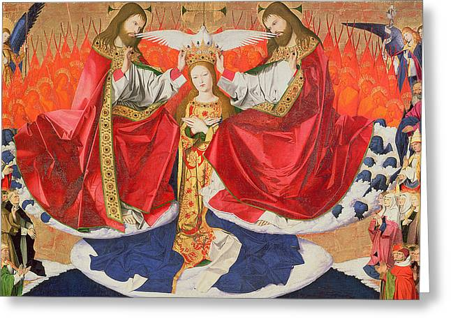 The Coronation Of The Virgin Greeting Card by Enguerrand Quarton