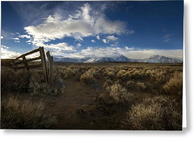 Eastern Sierra Greeting Cards - The Corral Greeting Card by Sean Foster