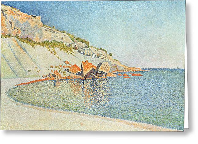 Pointillist Paintings Greeting Cards - The Cote D azur Greeting Card by Paul Signac