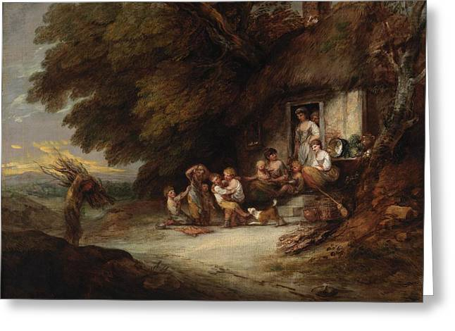 Thatch Greeting Cards - The Cottage Door, C.1777-78 Oil On Canvas Greeting Card by Thomas Gainsborough