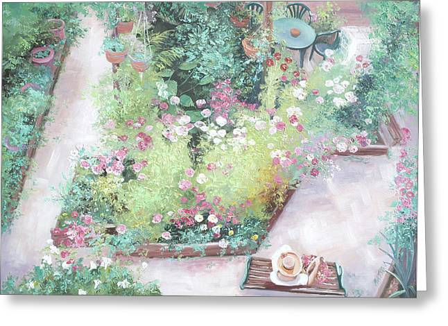 Lounge Paintings Greeting Cards - The Cottage Garden Greeting Card by Jan Matson