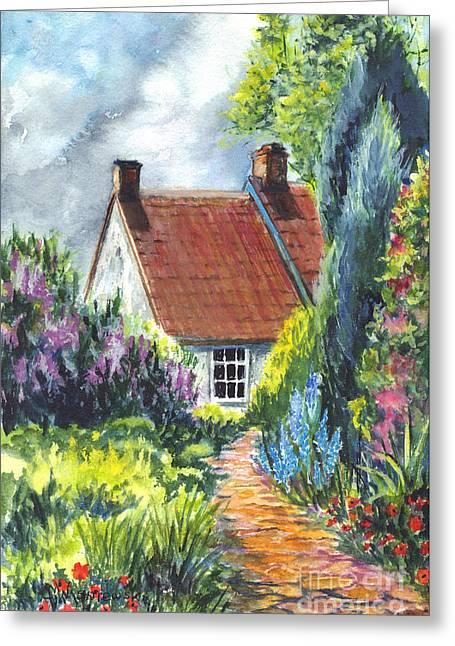 New England Village Greeting Cards - The Cottage Garden Path Greeting Card by Carol Wisniewski