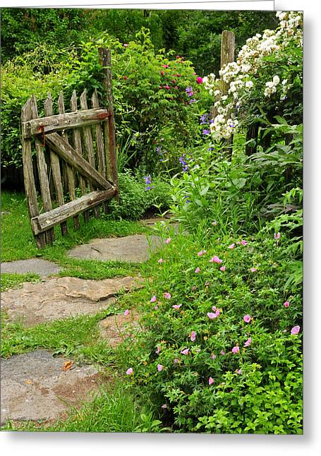 Litchfield Hills Greeting Cards - The Cottage Garden Walkway Greeting Card by Thomas Schoeller