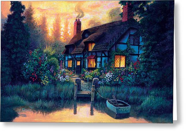 The Cottage Greeting Card by MGL Studio - Chris Hiett