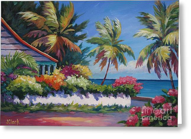 Jamaica Paintings Greeting Cards - The Cottage on the Corner Greeting Card by John Clark