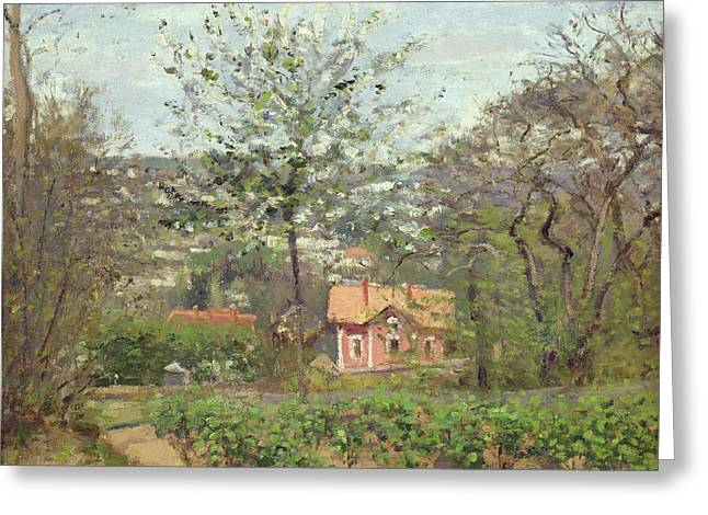 Vineyard Landscape Photographs Greeting Cards - The Cottage, Or The Pink House - Hamlet Of The Flying Heart, 1870 Oil On Canvas Greeting Card by Camille Pissarro