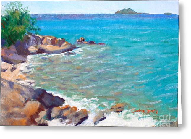 Saba Rock Greeting Cards - The Cottage View Greeting Card by Candace Lovely