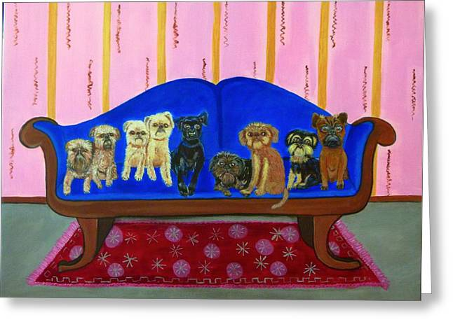 Dog On Couch Greeting Cards - The Couch Greeting Card by Laurey  Hallson