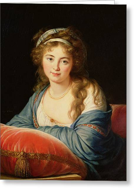 Cushion Greeting Cards - The Countess Catherine Vassilievna Skavronskaia 1761-1869 1796 Oil On Canvas Greeting Card by Elisabeth Louise Vigee-Lebrun