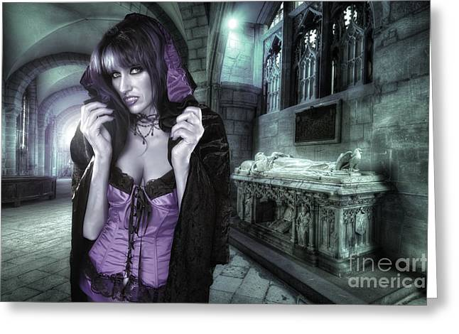 Gothic Dark Church Greeting Cards - The Countess Greeting Card by Yhun Suarez