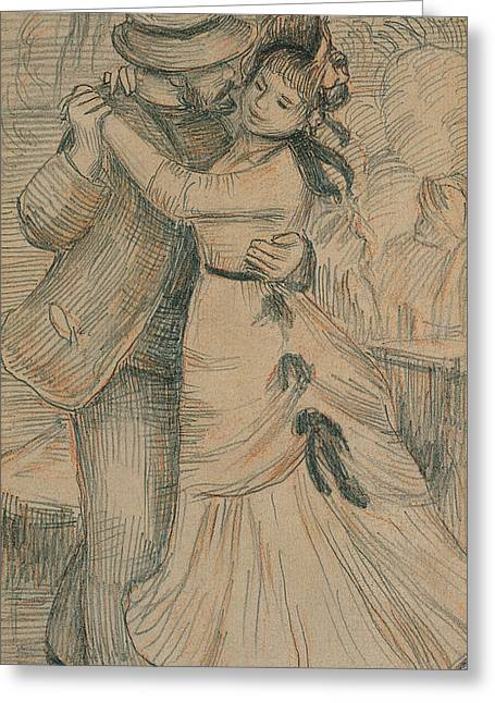 Valentines Day Pastels Greeting Cards - The Country Dance Greeting Card by Pierre Auguste Renoir