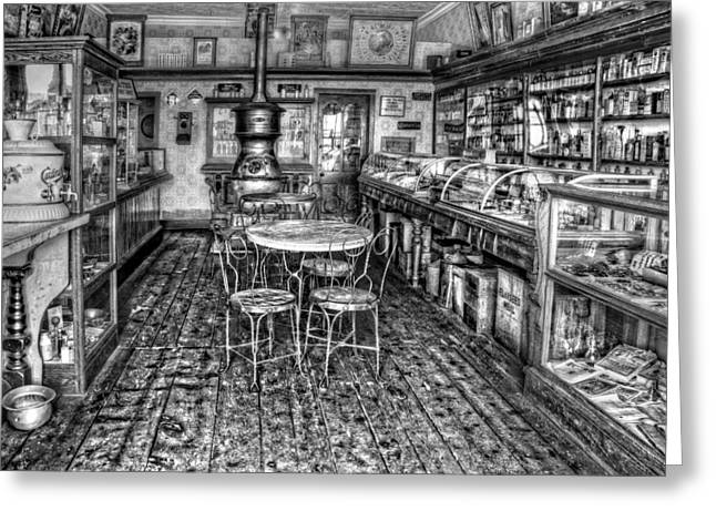 Display Case Greeting Cards - The Country Store Black and White Greeting Card by Ken Smith