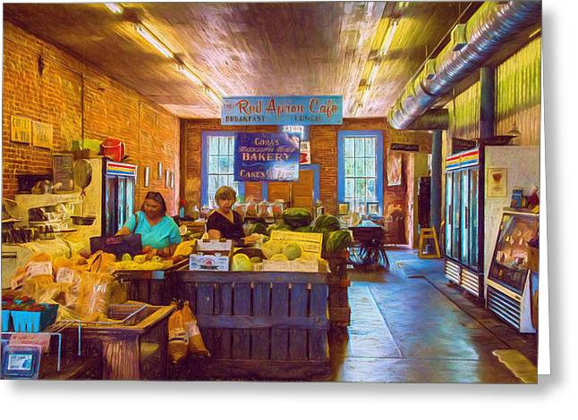 Grocery Store Greeting Cards - The Country Store - Impressionistic - Nostalgic Greeting Card by Barry Jones