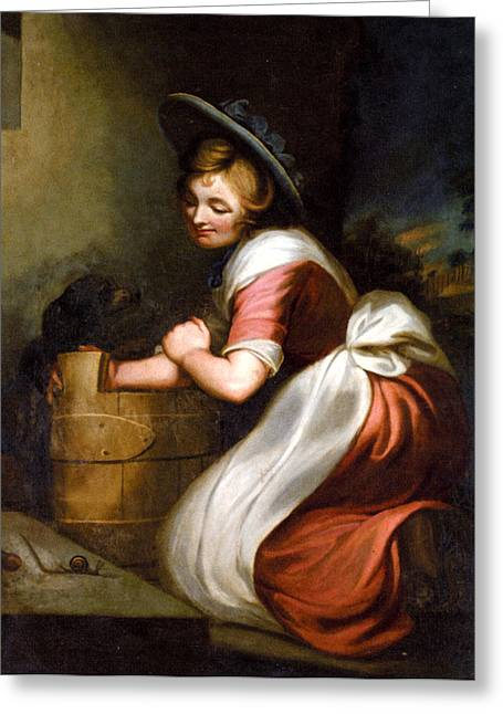 Woman In A Dress Greeting Cards - The Countrymans Lunch Greeting Card by George Morland