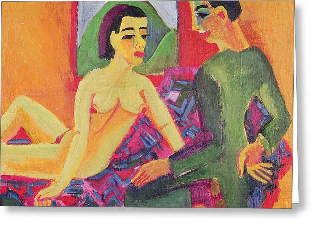 Lovers; Nudes Greeting Cards - The Couple, 1923 Oil On Canvas Greeting Card by Ernst Ludwig Kirchner