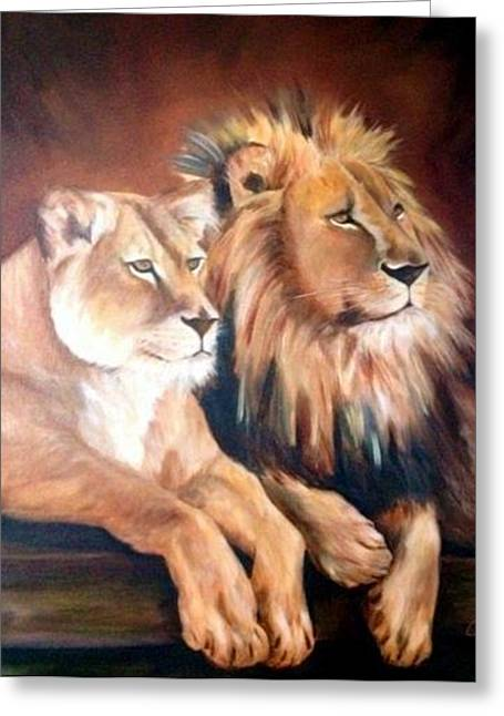 Lioness Greeting Cards - The Couple Greeting Card by Anne Barberi