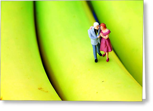 Creative People Greeting Cards - The couple on banana little people on food Greeting Card by Paul Ge