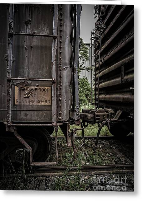 Railroad Railroad Tracks Greeting Cards - The Coupling Greeting Card by Edward Fielding