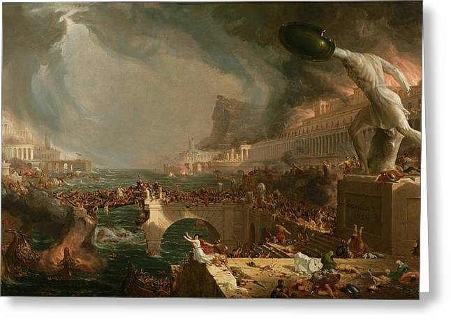 Cole Greeting Cards - The Course of Empire Destruction  Greeting Card by Thomas Cole