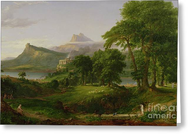 Cole Paintings Greeting Cards - The Course of Empire   The Arcadian or Pastoral State Greeting Card by Thomas Cole