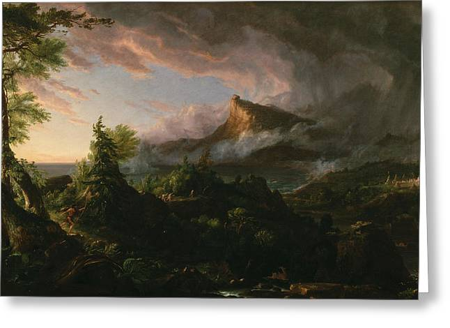 Cole Greeting Cards - The Course of Empire The Savage State  Greeting Card by Thomas Cole