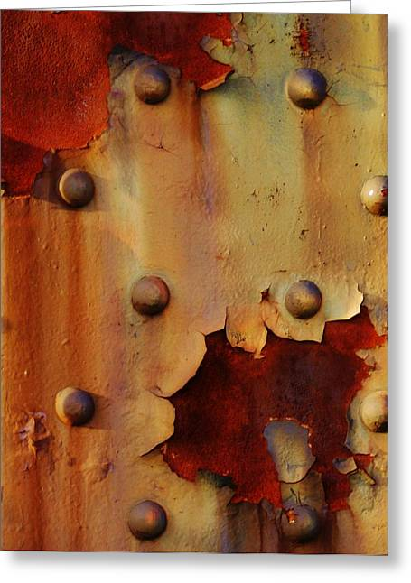 Rivets Paintings Greeting Cards - The Course of Rust Greeting Card by Charles Lucas