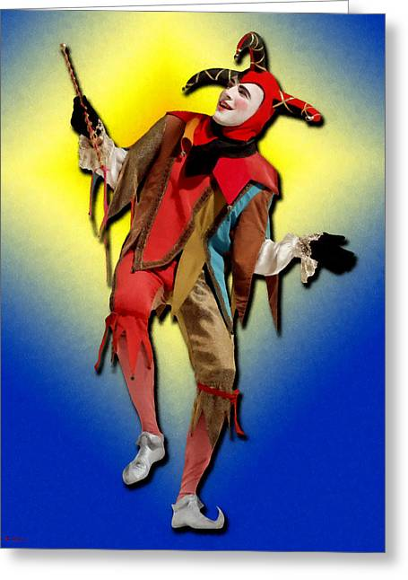 Jester Mixed Media Greeting Cards - The Court Jester Greeting Card by Tyler Robbins