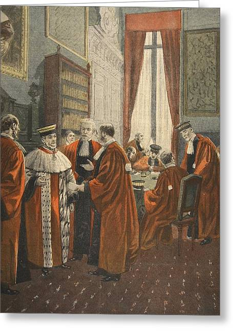 Scandal Greeting Cards - The Court Of Appeal During The Zola Greeting Card by Fortune Louis Meaulle