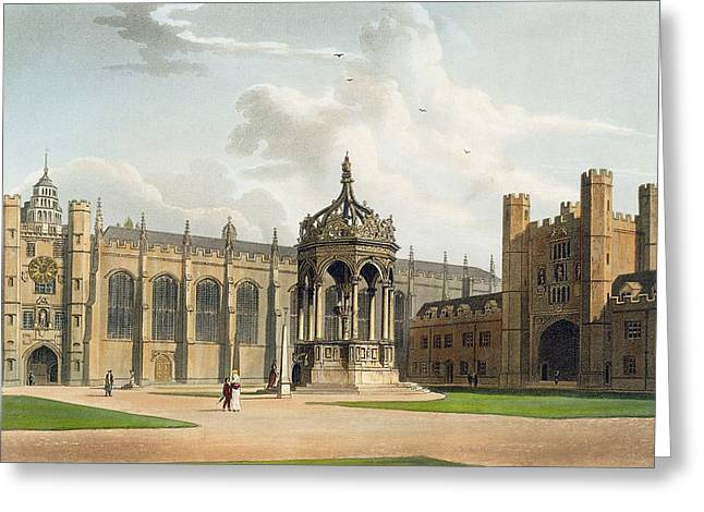 Built Greeting Cards - The Court Of Trinity College Greeting Card by William Westall