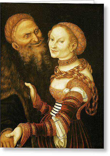 Lovesick Greeting Cards - The Courtesan And The Old Man, C.1530 Oil On Canvas Greeting Card by Lucas, the Elder Cranach