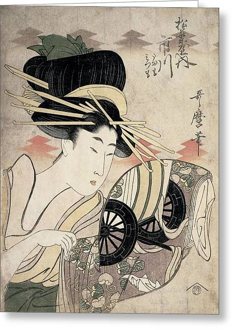 Wagon Wheels Greeting Cards - The Courtesan Ichikawa Of The Matsuba Establishment, Late 1790s Colour Woodcut Greeting Card by Kitagawa Utamaro