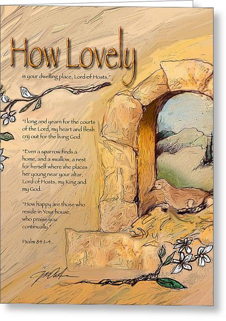 Bible Mixed Media Greeting Cards - The Courts of the Lord Greeting Card by Ron Cantrell