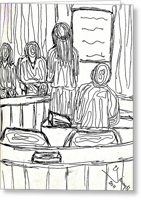 Attorney Drawings Greeting Cards - The Courts2 Greeting Card by Yovannah Diovanti