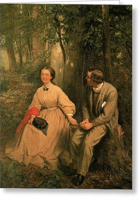 Man And Woman In Love Greeting Cards - The Courtship Greeting Card by George Cochran Lambdin