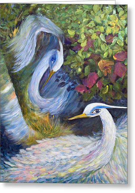 Water Fowl Paintings Greeting Cards - The Courtship Greeting Card by Joanne Smoley
