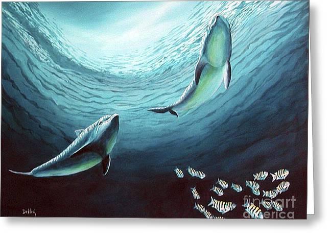 Underwater View Paintings Greeting Cards - The Courtship Greeting Card by Joe DeKleva