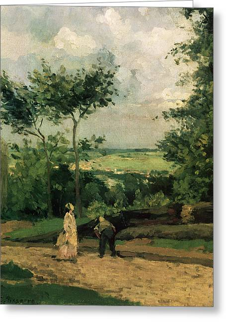 Tall Tree Greeting Cards - The Courtyard at Louveciennes Greeting Card by Camille Pissarro