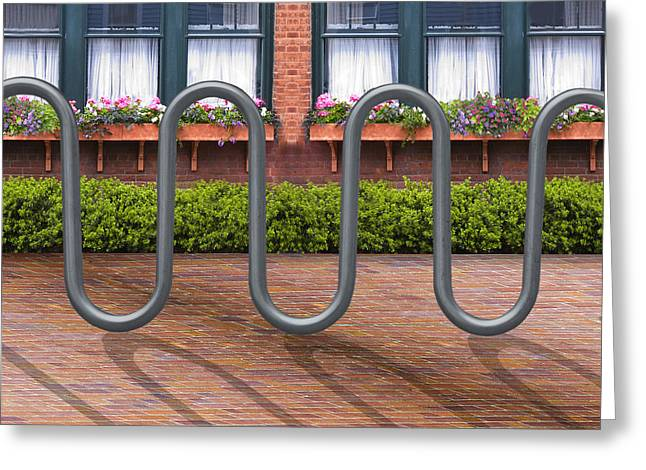 Brick Patio Greeting Cards - The Courtyard Greeting Card by Paul Wear