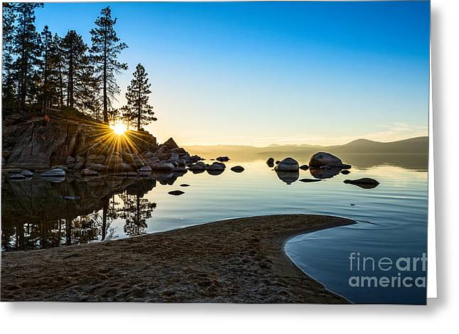 Calm Water Reflection Greeting Cards - The Cove at Sand Harbor Greeting Card by Jamie Pham