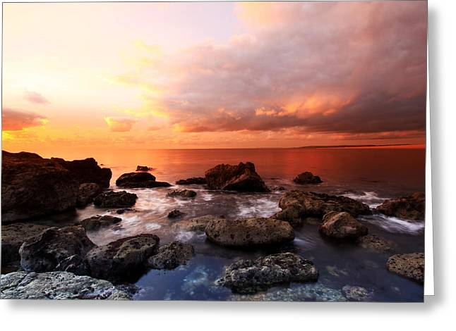 The Cove Sunset Greeting Card by Ollie Taylor