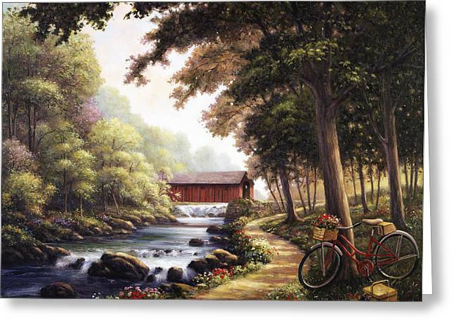 Covered Bridge Paintings Greeting Cards - The Covered Bridge Greeting Card by John Zaccheo
