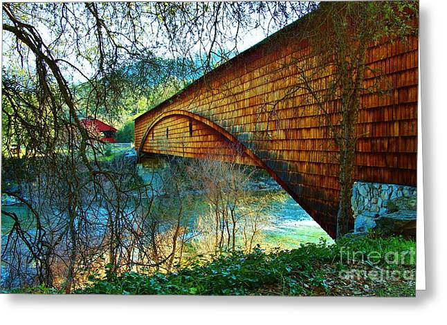 Bridgeport California Greeting Cards - The Covered Bridge Greeting Card by Laurie Fancher-Long