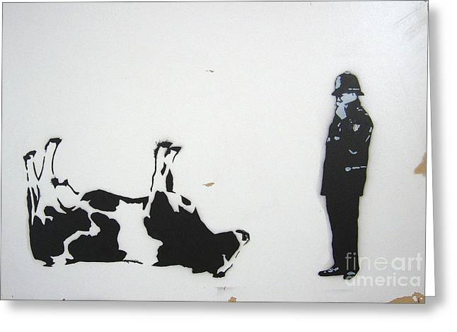 Banksy Paintings Greeting Cards - The Cow Greeting Card by Bela Manson